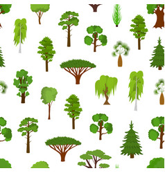 different green tree types seamless pattern vector image