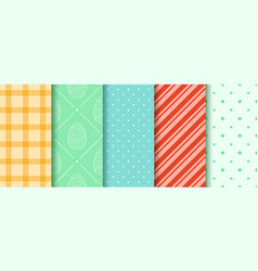 Easter seamless patterns set in pastel colors vector