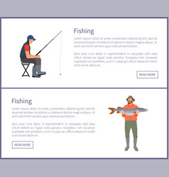 Fishing activities posters vector