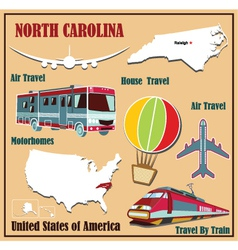 Flat map of North Carolina vector image