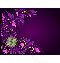 Floral ornament on a dark background vector image