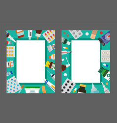 Frames with pills and medical liquids in bottles vector