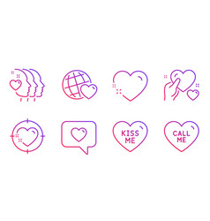 Friends world heart and kiss me icons set love vector