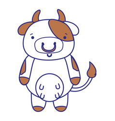 Full color cute and happy cow wild animal vector