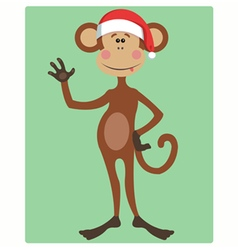 Funny monkey christmas hat vector