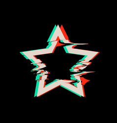glitch distortion frame star vector image