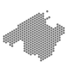 Grey hexagon spain mallorca island map vector