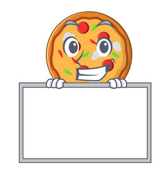 Grinning with board pizza character cartoon style vector