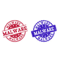 Grunge scratched malware seal stamps vector