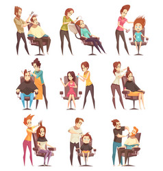 Hair salon treatments cartoon icons vector