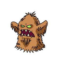 Hairy monster cartoon hand drawn image vector