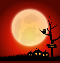 Halloween background with spooky landscape vector