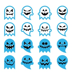 Halloween scary ghost spirit icons set vector