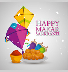 Happy makar sankranti with kites and food vector