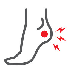 Heel pain line icon body and painful foot ache vector