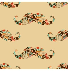 Hipster Mustache Colorful Seamless Pattern vector