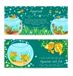 Horizontal banner set with aquarium and fishes vector