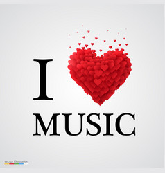 I love music heart sign vector
