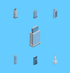 isometric construction set of business center vector image