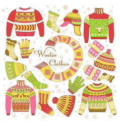 Knitted clothing knitwear winter clothes sweater vector