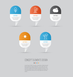 Landscape icons set collection of sunny weather vector