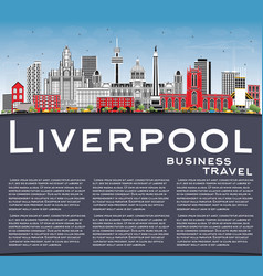 Liverpool skyline with color buildings blue sky vector