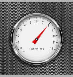 Manometer round gauge with metal frame vector