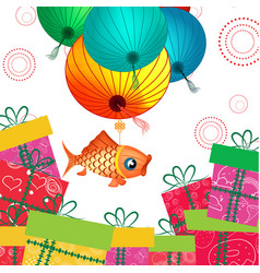 Mid autumn festival lantern and gifts vector