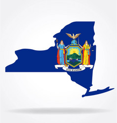 new york ny state flag map shape vector image