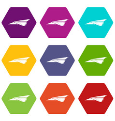 origami airplane icons set 9 vector image