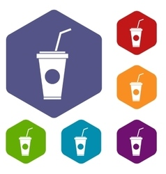 Paper cup with straw icons set vector image