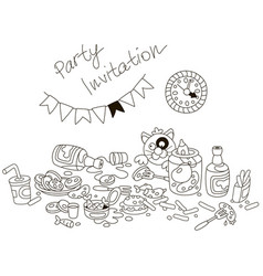 Party invitation card with a funny tipsy cat vector
