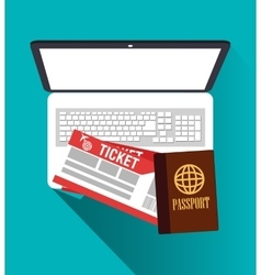 Passport laptop and tickets design vector