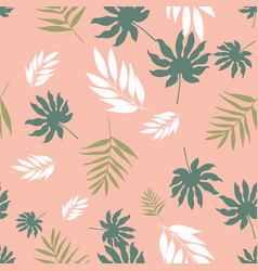pastel tropical leaves seamless pattern vector image