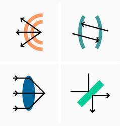 Physics optics and light refraction flat vector