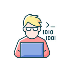programmer computer expert rgb color icon vector image