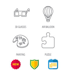 Puzzle painting and air balloon icons vector
