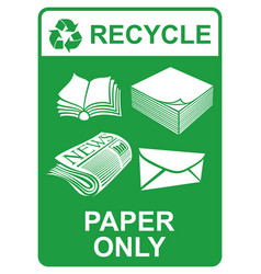 Recycle sign - paper only vector