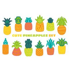 Ripe pineapple hand drawn set vector