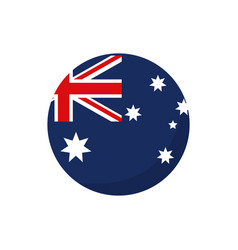 Round flag button australia icon on white vector