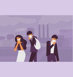 Sad people wearing protective face masks walking vector
