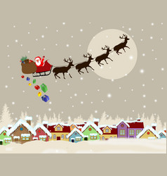 santa claus on sledge delivering christmas gifts vector image