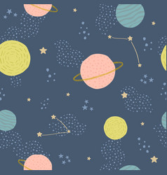 seamless childish pattern with space elements vector image