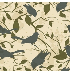 Seamless grungy pattern with birds and tree vector image