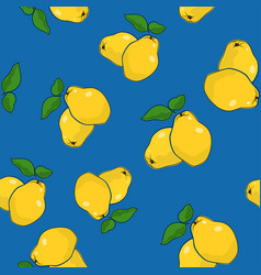 Seamless pattern quince on blue background vector