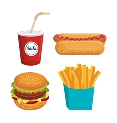 set fast food isolated icon design vector image