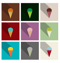 set of ice cream in waffle cone icon vector image