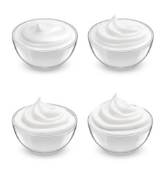 Set of transparent glass bowls with cream vector