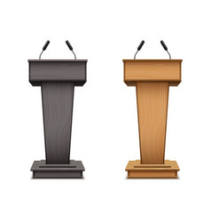 set wooden podium or black speech tribune vector image