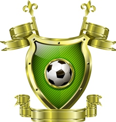 Shield with soccer ball vector
